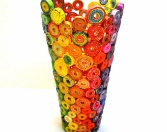 Vase Scuplture Rainbow Multi Colored, Eco Friendly,Upcycled Art, from PAPER, OOAK Unique Gift Item
