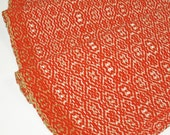 "Handwoven Throw Rug in Creamsicle - 24 x 56"" - 50/50 Cotton & Wool - Bright Orange with Cream, Off white, and Tan"