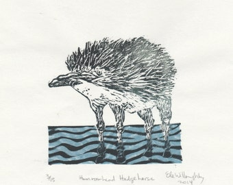 The Hammerhead Hedgehorse Mini Print, a linocut imaginary spiny river animal - Imaginary Hybrid Zoology Linocut Collection