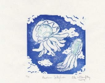 The Aeolian Jellyfish Mini Print, linocut imaginary airborn jelly, Crypozoology Imaginary Glow In the Dark Tiny Lino Block Print Collection