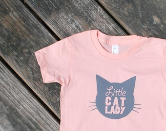 Little Cat Lady - Baby / Infant Cotton TShirt in Apricot Pink with Grey Print