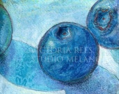 Blue Berries and Lace -- DIGITAL PRINT Of My ORIGINAL Painting 4 x 4 Still Life Mixed Media Art
