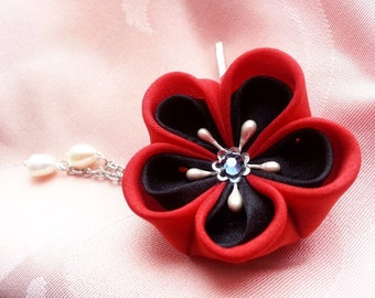 Mini Lava -- Red And Black Silk Flower Hair Clip With Freshwater Pearl Drops