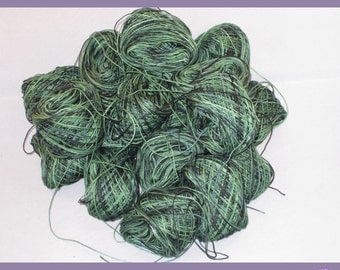 Cotton Crochet Thread #10 Hand-Painted :Deep in the Woods Hunter Green, Black, Shades of Green