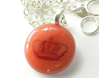 Fused Glass Pendant with Queenly Crown . Burnt Coral . The Queen . Fused Glass Pendant on Silver Chain . She Who Must Be Obeyed
