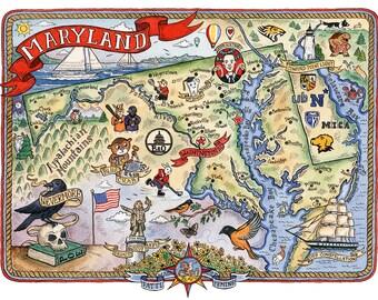 "Maryland State Map Art Print 11"" x 14"""