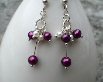 Raspberry Freshwater Pearl Cluster Earrings Long Pearl Dangles Sterling Silver Pearl Earrings