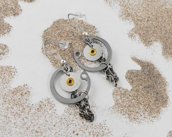 Steampunk Industrial Hoop Chain Dangle Earrings - The Chain of Life by COGnitive Creations