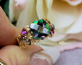 Rainbow Mystic Topaz, 10mm CHECKERBOARD Cushion Cut, Handmade Wire Wrapped Ring, Fine Jewelry, Unique Engagement Ring, November Birthstone