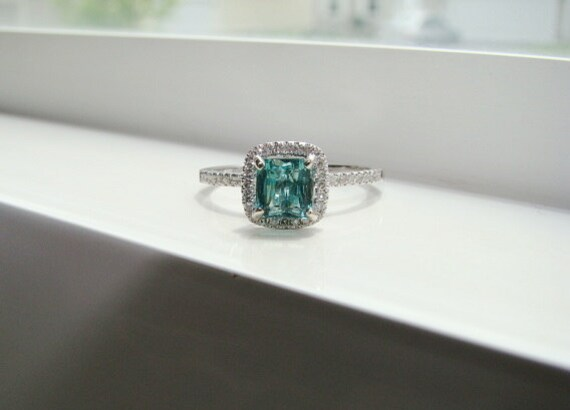 Halo Asscher Teal Paraiba Tourmaline Diamond Ring Gemstone