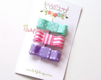 Baby Clip / Girls Petite Baby Bow Lavender Aqua n Pink SUGAR Newborn Tuxedo Bow Snap Clip Barrettes or Alligator Clips For Toddler Girls  /