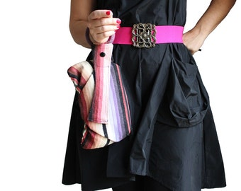 Southwestern Purple Pink Black Bracelet Handbag Clutch - navajo blanket