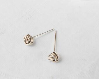 5 mm Oxidized love knot earrings, ball stud, 925 Silver Stud Earring, Rattan Weave Ball Minimalist, Men earrings, Cartilage piercing stud