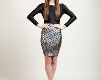 Pacific Silver Mermaid Bodycon Pencil Skirt in Metallic Holographic Sparkles