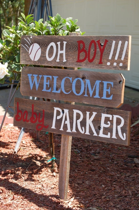 Welcome home baby yard sign baseball baby shower by for Baby welcome home decoration