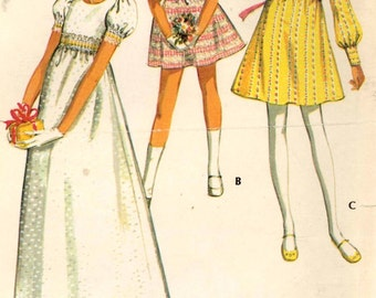 Vintage flowergirls dress pattern 70s flower girl wedding party McCalls 2781 sewing pattern Sz 7 or Size 8
