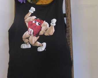 Reusable/Recycled Market/Tote Bag Red M & M Muscle Builder  Handmade by FashionGreenTBags