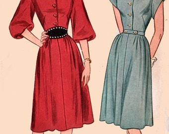 CLEARANCE SALE 1940s Dress with Detachable Collar Simplicity 1739 Vintage 40s SWING Era Sewing Pattern  Size 16 Bust 34