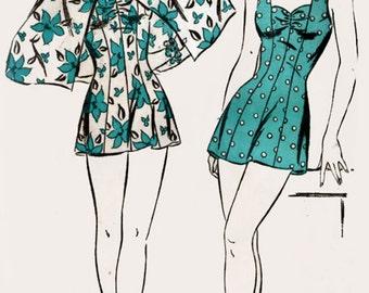 Vintage Advance 3904 Sewing Pattern Smokin Hot Bathing Suit w/ Cape Vintage 40s Swing Era Original Sewing Pattern Plus Size 20 Bust 38