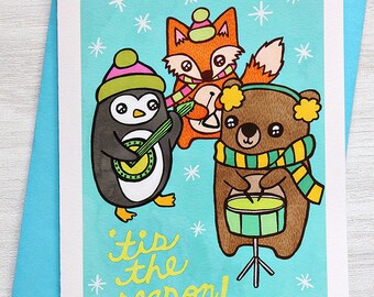 Holiday Card - Tis the Season Animal Band - Christmas Notecard