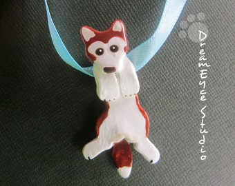 Red Siberian Husky Hangin' On Artist Hand-made Clay Pendant B4