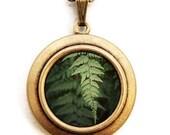 Photo Locket - Fern - Nature Botanical Green Plant Photo Locket Necklace