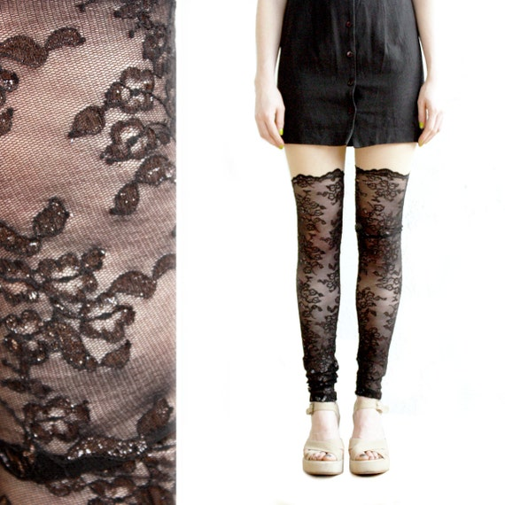 Black Lace Leggings, Faux Thigh High Leggings, Lace Faux Thigh High, Lace Leggings, Sheer Leggings, Mesh Leggings, Norwegian Wood