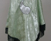 Green Ajah Aes Sedai Wheel of Time Inspired Fringed Satin Brocade Shawl Cape Stole