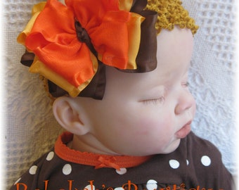 Thanksgiving baby headband, double ruffle bows, orange headband, brown headband, yellow headband, triple stacked bows, hair bows for girls
