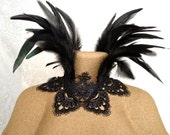Maleficent feather collar - Victorian feather choker necklace - goth witchy feather choker necklace - ready to ship - crown scallop coque