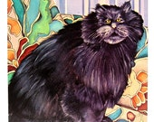 Cat Print - Among the Lilies of the Valley, The Big Black Tom - 1985 Vintage Book Page