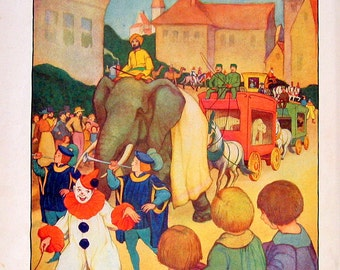 1929 Children's Picture Book Page - The Circus Day Parade