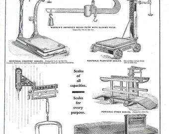 1904 Antique Hardware Ad - Doors, Standard Scales - 2 Sided Page - Canada Hardware and Metal Catalog