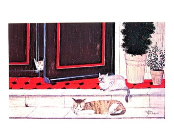 Cat Print - On The Threshold - 1985 Vintage Book Page - 9 x 12