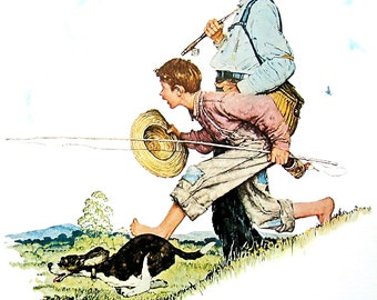 Grandpa and Me Going Fishing - The Four Seasons Calendar - Large Norman Rockwell Poster Sized Print - 1977 Vintage Book Page - 15 x 12