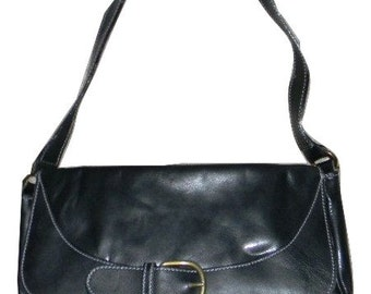 Vintage handbag, purse,  Paola Del Lungo Leather bag, baguette, black leather, shoulder strap