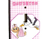 Baby Girl Nursery Light Switch Cover Stork Pink Nursery Wall Decor Light Switchplate Whimsical