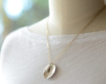 Large ohi'a leaf necklace mixed metal, leaf jewelry, silver leaf necklace, foliage jewelry, made in hawaii