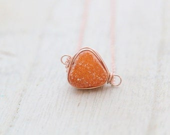 Druzy Geometric Necklace, Rust Orange Bezel Wrapped Triangle Necklace in Gold, Rose Gold, Sterling Silver - Sienna
