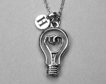 LightBulb Necklace, light bulb necklace, lightbulb charm, initial necklace, personalized jewelry, silver antiqued pewter, monogram letter