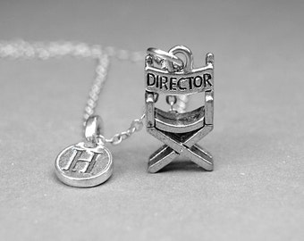 Director's Chair Necklace, movie director necklace, film director charm, personalized jewelry, initial necklace, monogram, silver pewter