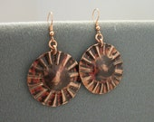 Round copper earrings hand forged metalwork with high heat patina - copper jewelry - copper earrings
