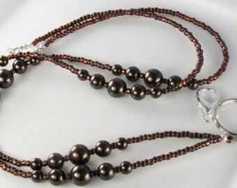 Brown Pearl Beaded Lanyard, Chocolate lanyard, ID Badge Holder, breakaway lanyard, gifts for her