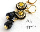 "Black, Gold, Sun Yellow and Black Diamond Swarovski Crystals Art Deco Disks with Jet Black Teardrop Dangle, ""Let Summer Begin!"""