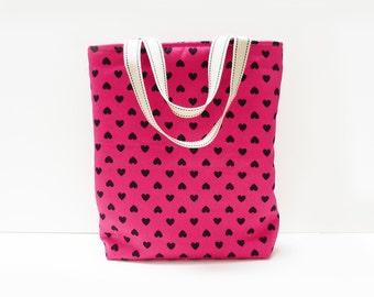 Tote bag, heart print, hot pink and black, lovehearts