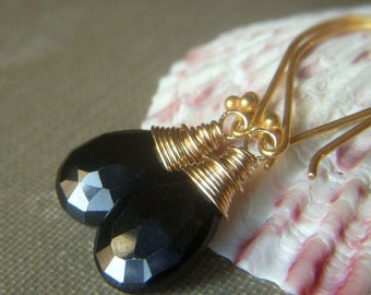 Black Spinel Earrings, Goldfilled Earrings, Black Gemstone Wirewrapped Classic Gemstone Briolette Earrings, Simple Black and Gold Earrings