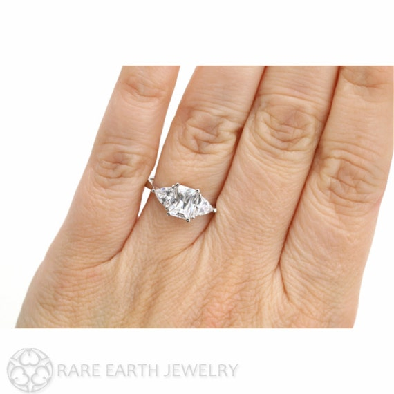 Moissanite 3 Stone Engagement Ring Radiant Trillion By