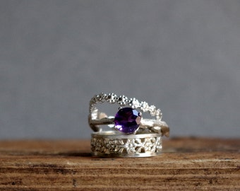 Sterling Silver Stack Rings Amethyst Floral Ring Gemstone Ring Botanical Jewelry February Birthstone