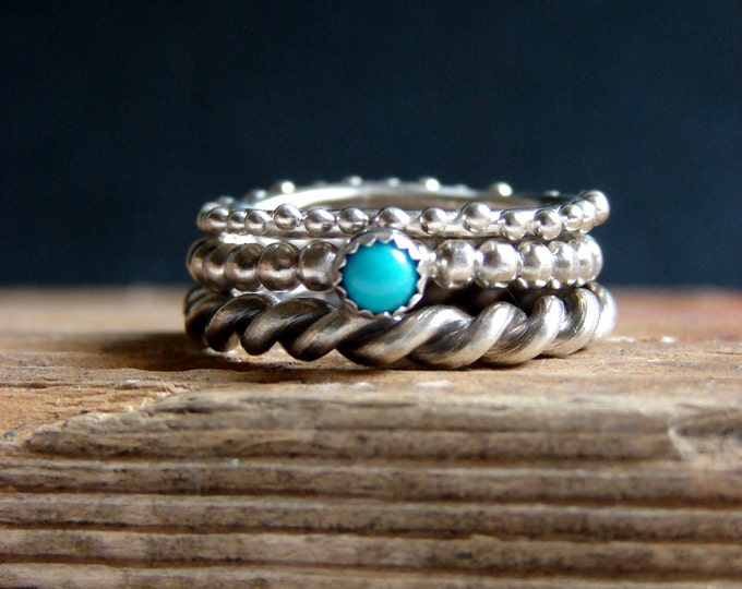 Turquoise Jewelry Stack Ring Set Blue Turquoise Ring Sterling Silver Stacking Rings December Birthstone Gifts for her