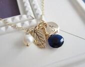 September birthstone necklace, personalized necklace, gold initial necklace, gold leaf necklace, September birthday gift, gold monogram